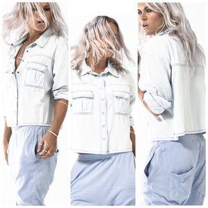 🌻One Teaspoon Cropped Liberty Chambray Shirt